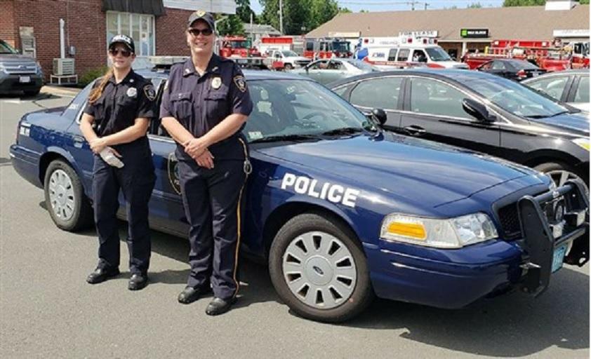 Blandford P.D. Officer Krysten Scapin, left, and Interim Police Chief Roberta Sarnacki in July 2018. (Blandford Police Department / via Facebook)