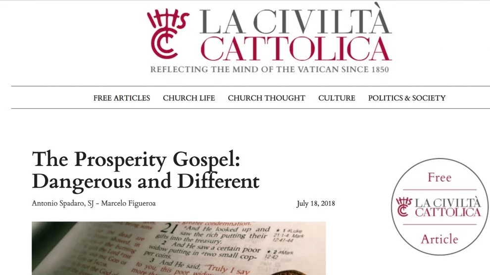 "La Civilta Cattolica published ""The Prosperity Gospel: Dangerous and Different,"" critiquing American evangelicals. Screenshot"