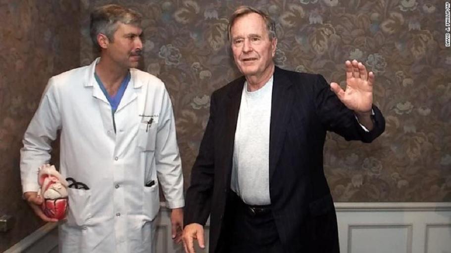Dr. Mark Hausknecht and Former President George H.W. Bush.