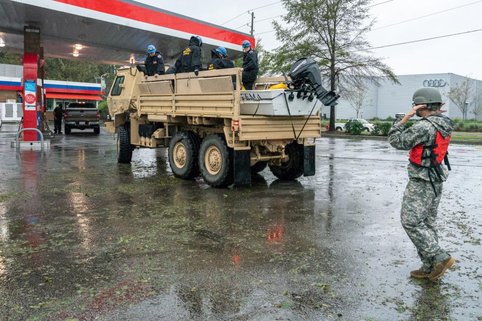 INTF-1, (Indiana Task Force), Indiana Urban Search and Rescue team stop at a local gas station to fill up during tropical storm Florence September 15, 2018 in Wilmington, North Carolina. Photo by Ken Cedeno/UPI