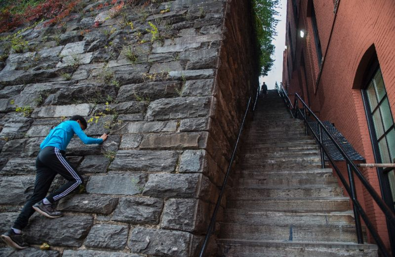 "These stairs in the Georgetown neighborhood of the US capital Washington were made famous by the 1973 movie ""The Exorcist"" -- and could soon achieve historic landmark status (AFP Photo/ANDREW CABALLERO-REYNOLDS)"