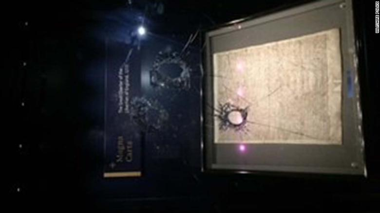 Police say a man tried to steal the Magna Carta from Salisbury Cathedral by smashing its glass casing with a hammer.