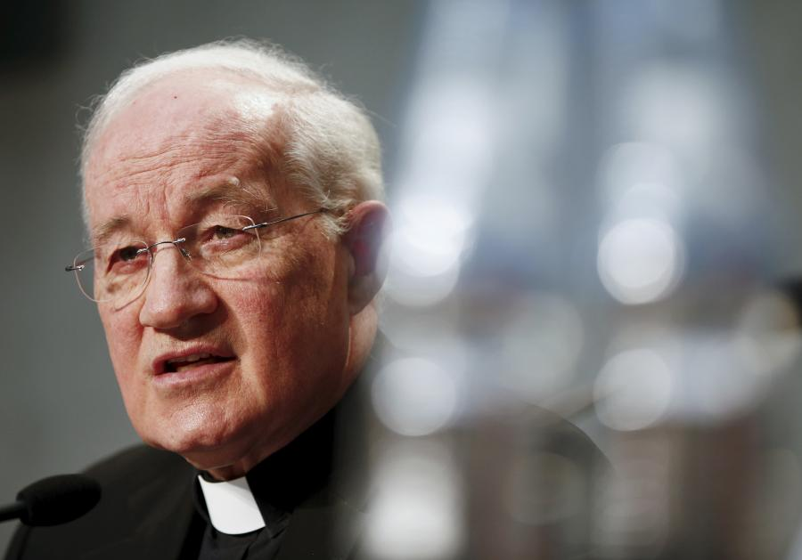 Cardinal Marc Ouellet talks during a news conference to announce the canonisation of Fray Junipero Serra at the Vatican April 20, 2015.   REUTERS/Tony Gentile