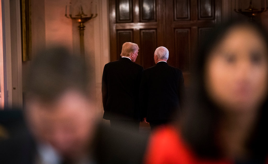 Mr. Trump and Mr. Pence leaving a press conference on Nov. 7 in which Mr. Trump asked Mr. Pence to be his running mate in 2020. (Credit: Doug Mills/The New York Times)