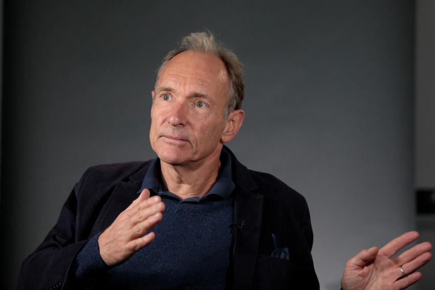World Wide Web founder Tim Berners-Lee speaks during an interview ahead of a speech at the Mozilla Festival 2018 in London, Britain October 27, 2018.  REUTERS/Simon Dawson