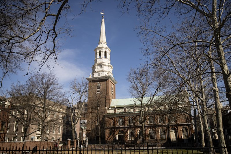 This Wednesday, March 27, 2019 photo shows the exterior of the Christ Church in Philadelphia. The National Endowment for the Humanities has awarded a $500,000 grant to the historic church to restore its steeple and church tower. (AP Photo/Matt Rourke)