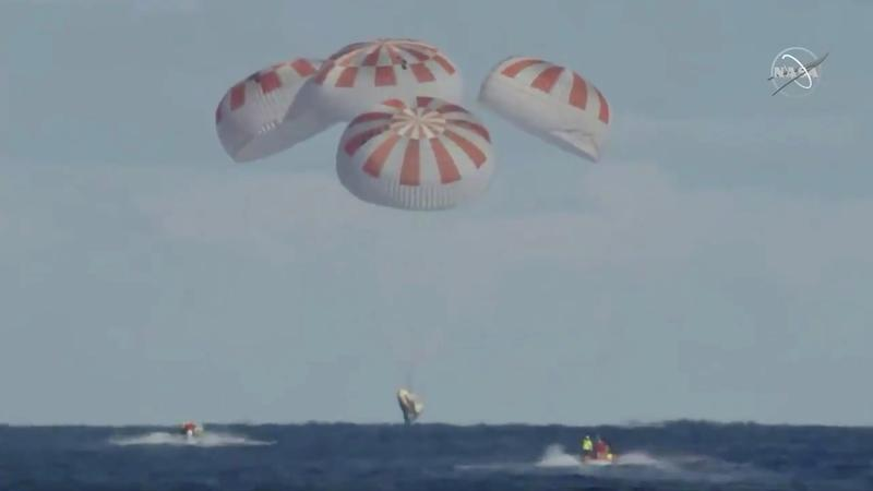 An unmanned capsule of the SpaceX Crew Dragon spacecraft splashes down into the Atlantic Ocean, after a short-term stay on the International Space Station, in this still image from video, in the Atlantic, about 200 miles off the Florida coast, U.S., March 8, 2019. Courtesy NASA/Handout via REUTERS
