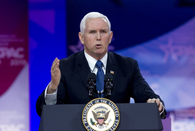 Vice President Mike Pence speaks at Conservative Political Action Conference, CPAC 2019, in Oxon Hill, Md., Friday, March 1, 2019. (AP Photo/Jose Luis Magana)