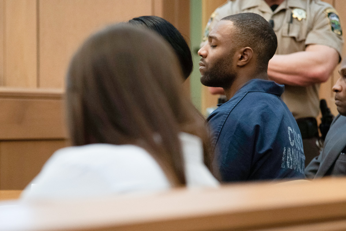 Torrey Green closes his eyes while victims come to the stand to speak to the judge at his sentencing Wednesday, March 27, 2019, in Brigham City. Green was found guilty in January of eight charges, including five counts of rape and a charge of sexual battery in connection to reports from six women accusing him of sexual assault while he was a football player at Utah State University. (Chantelle McCall / Deseret News)