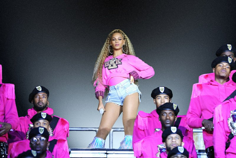 """This image released by Netflix shows Beyonce in a scene from her documentary """"Homecoming: A Film by Beyoncé."""" (Parkwood Entertainment/Netflix via AP)"""