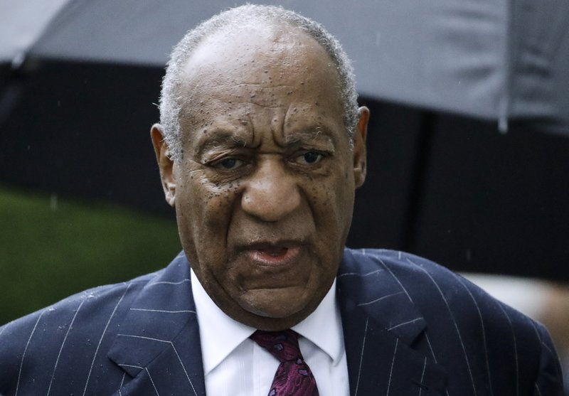 FILE - In this Sept. 25, 2018, file photo, Bill Cosby arrives for a sentencing hearing following his sexual assault conviction at the Montgomery County Courthouse in Norristown Pa. Court filings on Friday, April 5, 2019, showed that Cosby has agreed to settle lawsuits in a Massachusetts case filed by seven women who said he defamed them when he accused them of lying about sexual misconduct allegations. (AP Photo/Matt Rourke, File)