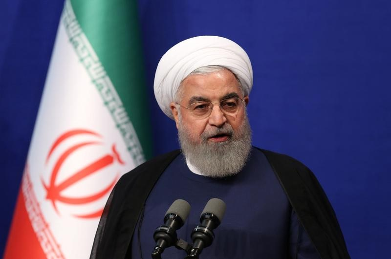 FILE PHOTO: Iranian President Hassan Rouhani speaks during a meeting with a group of Iranian athletes, in Tehran, Iran, June 1, 2019. (Official President website/Handout via REUTERS)