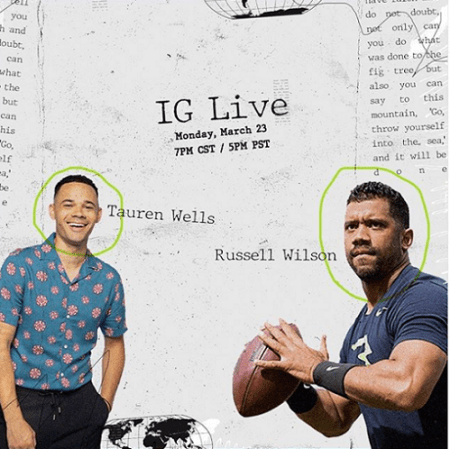 WATCH: Russell Wilson and Tauren Wells Team Up to Share Hope, Faith and Encouragement in Instagram Live Conversation