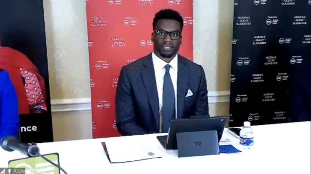 Benjamin Watson speaks at a press conference in Washington, D.C., on the violence in Nigeria on Sept. 16, 2020. | Screenshot: Zoom/ICON