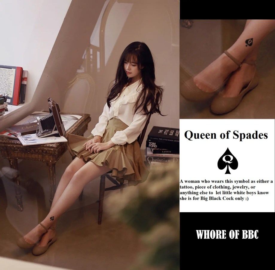 The Ankle is a Popular Spot for Women to Receive Their Queen of Spades Tattoo - image  on http://blackcockcult.com