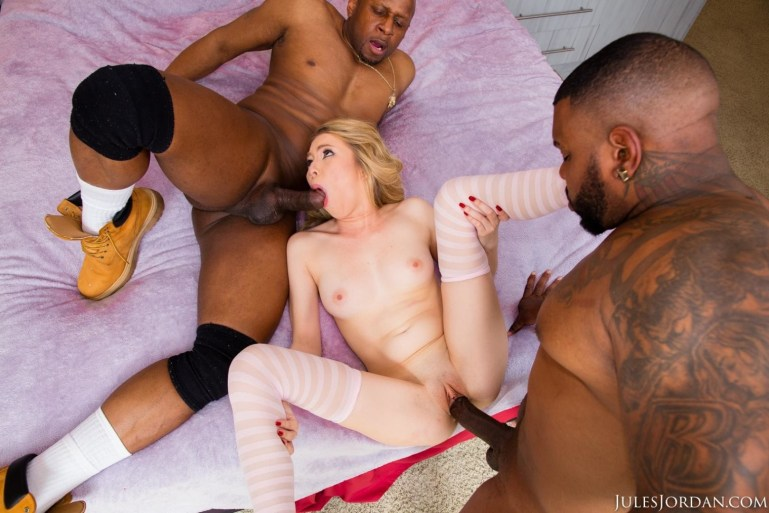 Angel Smalls Takes Two Black Cocks At Once - image  on https://blackcockcult.com