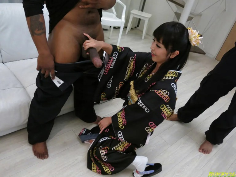 Marica Hase Goes Black in a Kimono - image  on https://blackcockcult.com