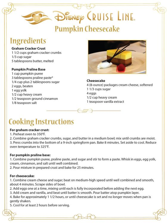 disney pumpkin cheesecake recipe