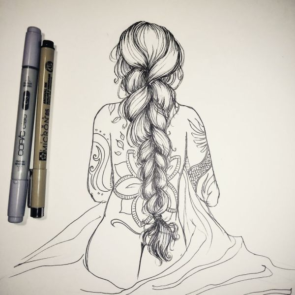 Inktober Day 16 Fat Braid by Blackdaisies