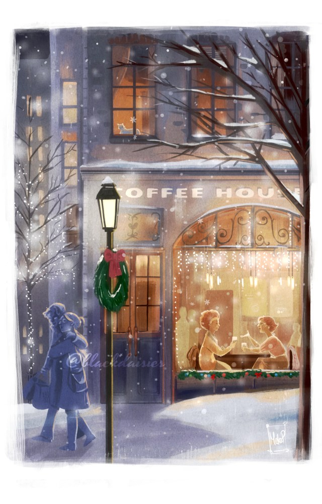Illustration of a coffee shop window front.