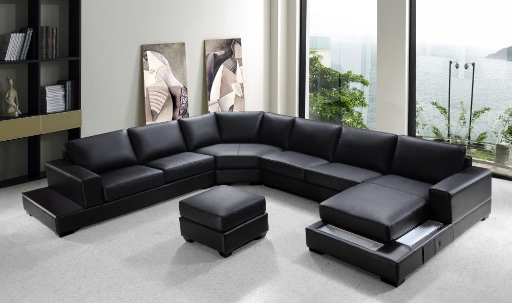Ritz – Modern Black Leather Sectional Sofa Set