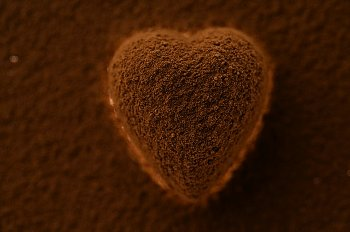 A chocolate heart dusted with cocoa powder and sitting on a cocoa-covered background
