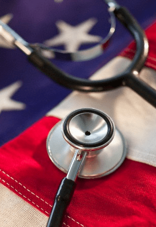 US flag and a stethoscope