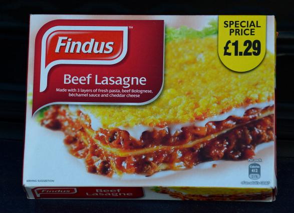 A box of Findus/Aldi Beef Lasagne