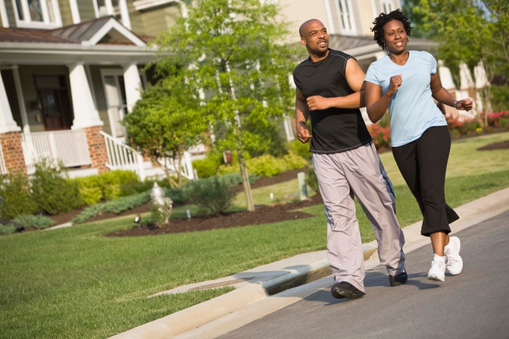 couple walking in street