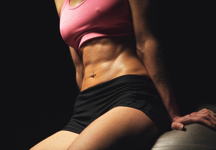 Toned Abs of a Fitness Woman