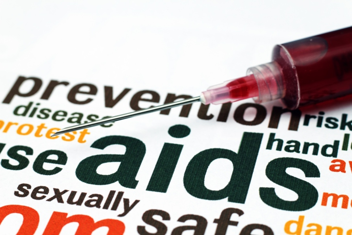 HIV AIDS words and needle