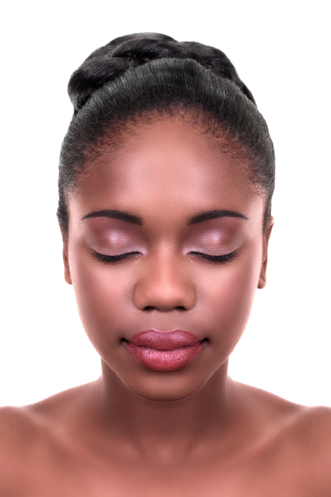 African American Black woman bun hairstyle