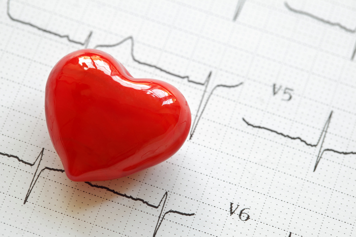 Heart with EKG printout