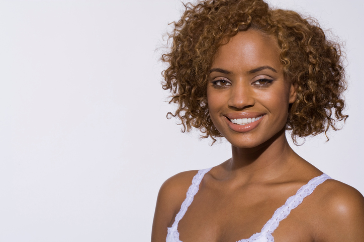 African American woman natural curly hair