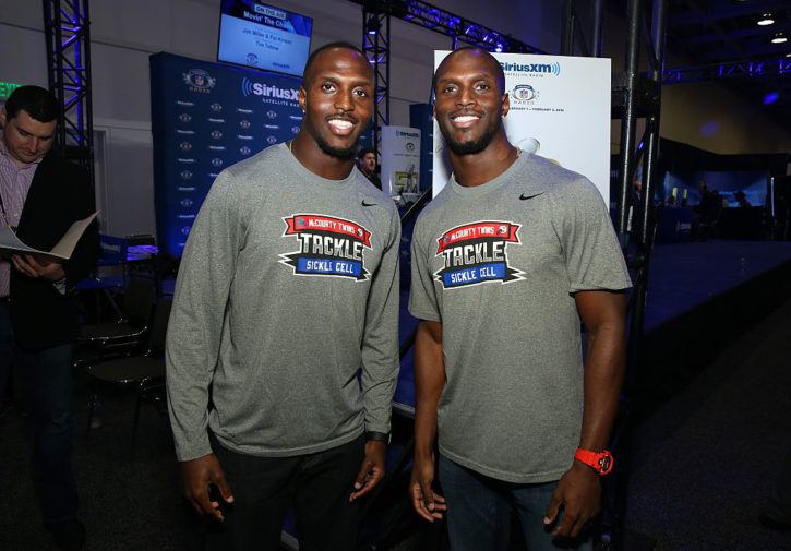 Twins Devin McCourty of the New England Patriots (L) and Jason McCourty of the Tennessee Titans/Photo: Cindy Ord/Getty Images for SiriusXM