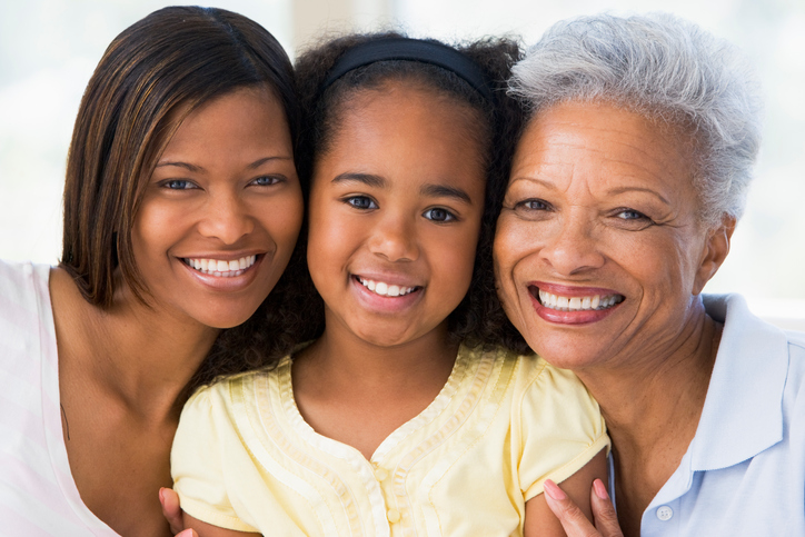 African American mother daughter grandmother smiling