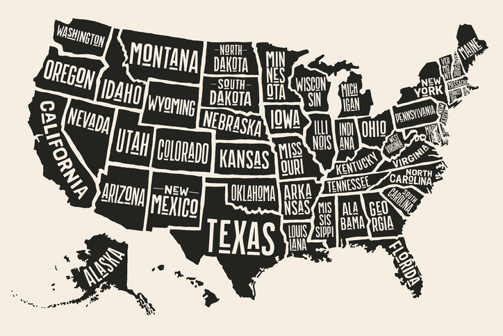 Poster map of United States of America with state names. Black and white print map of USA for t-shirt, poster or geographic themes. Hand-drawn black map with states. Vector Illustration