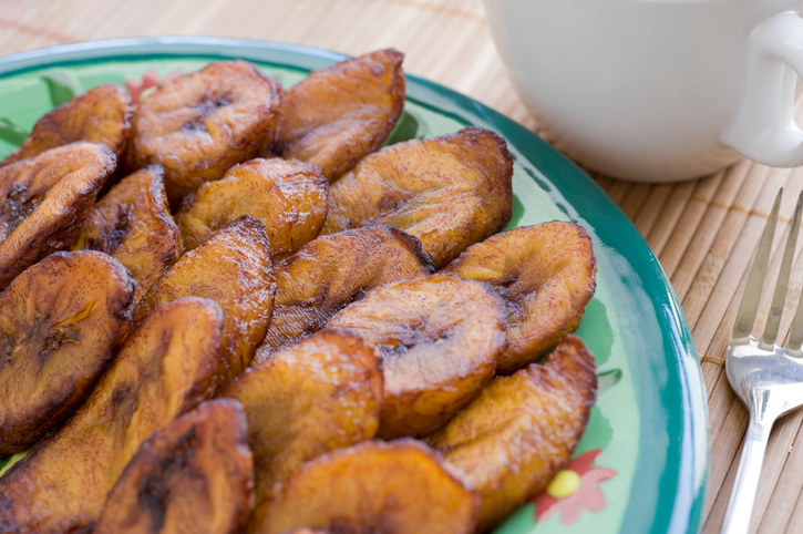 Ripe fried plantains. Common in Puerto Rico and other parts of the Caribbean. If you need a recipe to print, use the one below: