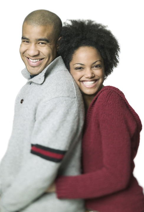 African American couple happy hugging