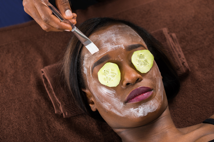 African American woman facial mask