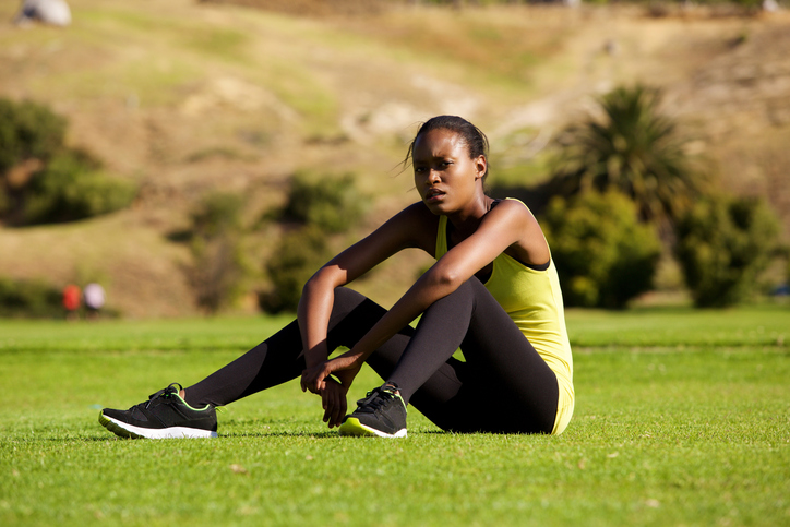 African American Woman relaxing from exercise