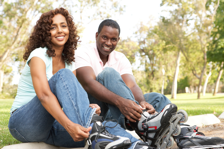African American couple skating