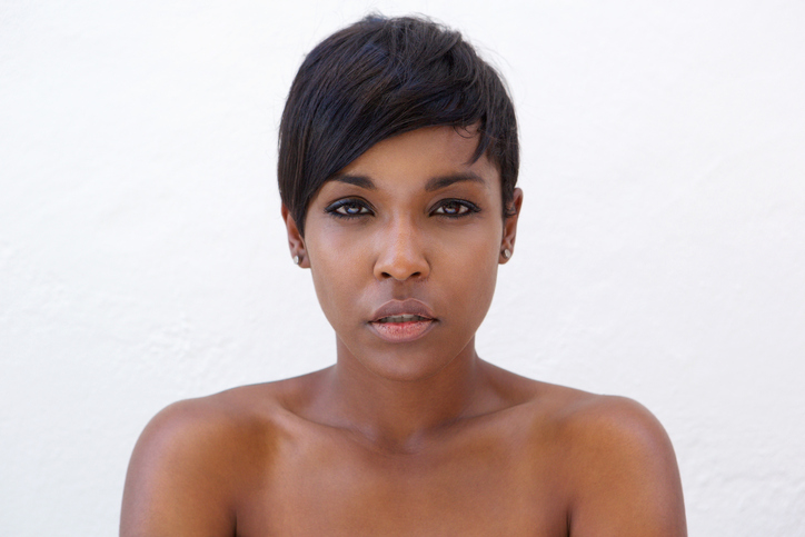 African American woman bare face short hair