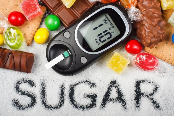 Unhealthy sugar and diabetes concept
