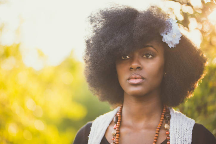 African American woman natural hair outside