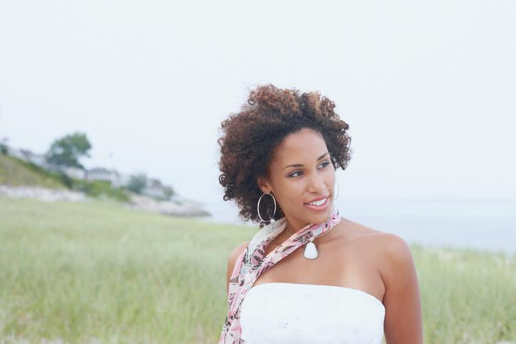 African American woman skin outside happy