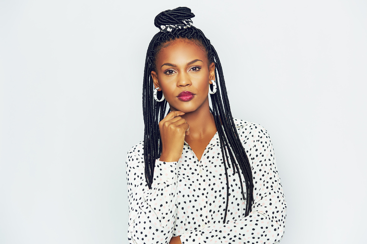 African American woman with long braids