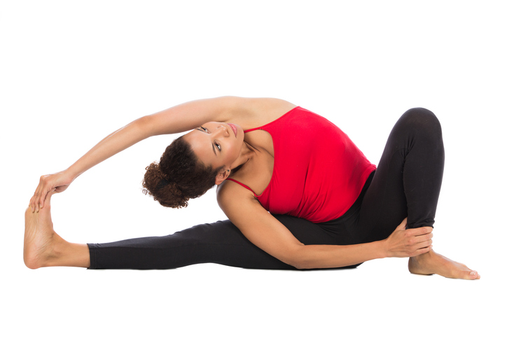 African American woman yoga pose