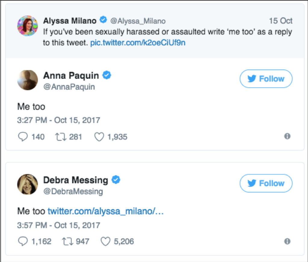 Thousands of women share experiences of sexual assault on Twitter through #MeToo