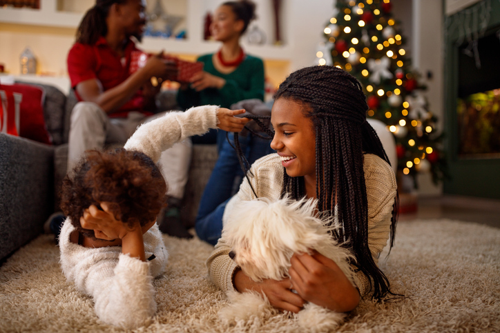 African American family happy at Christmas